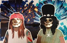 WILLIE AS AXL & SLASH -- 16 x 24in -- Mixed Media on Board -- CONTACT: annegenung@gmail.com