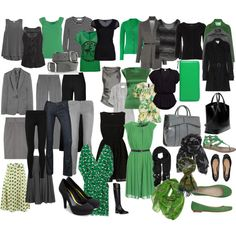 """Green-Gray-Black Mix n Match Wardrobe"" by arbwaggoner on Polyvore"