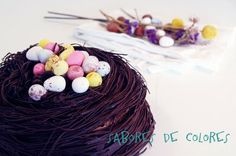 Sabores de colores: Tarta nido de chocolate