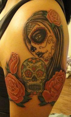 Dia de los Muertos girl with Sugar Skull tattoo