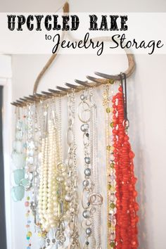 A simple jewelry holder up cycle - turn a vintage rake into a jewelry hanger.