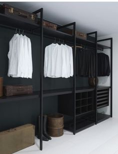 Masculine closet with iron structure.