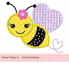 Bumble Bee with flower-Bumble Bee 03 Applique -4x4 5x7 6x10-Machine Embroidery Applique Design on Etsy, $2.99