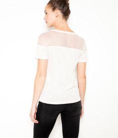 Vente T-shirt femme pointelle Macaron chine TS 15.99E - Tee shirt Camaieu. Un t-shirt femme mode et facile à la fois ! Ce modèle est doté d'une encolure arrondie, d'une...