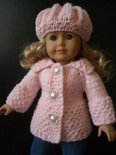 Easy 18 inch doll sweater and hat pattern 2.99 on Ravelry For beginners - maybe me someday!