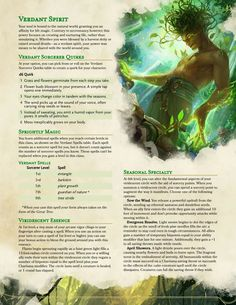 Dungeons And Dragons Races, Dungeons And Dragons Classes, Dungeons And Dragons Homebrew, Green Characters, Dnd Characters, Dnd Sorcerer, Dnd Druid, D D Races, Dnd Classes