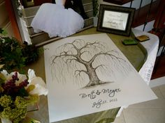 LARGE Weeping Willow Wedding Guest book tree- 24x18  Customized ORIGINAL Water Color and Ink painting Thumbprint Tree 125-200 guests on Etsy, $145.00