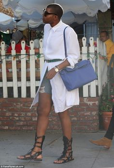 Trendsetter: EJ Johnson wore another chic ensemble as he had lunch with a friend at The Ivy in West Hollywood, California on Tuesday