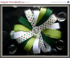 On Sale Now Holiday Green Hair Clip Green ribbon by HairFlair11, $3.75