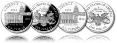 The 2001 Capitol Visitor Center Commemorative Coins were one of two commemorative coins series issued by the US Mint that year. Commemorative Coins, Silver Dollar, Coining