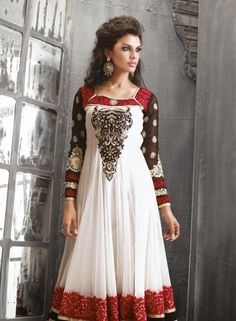 White Anarkali Salvar Kamij In Net .  Shop at -  http://www.gravity-fashion.com/white-anarkali-salvar-kamij-in-net-gf7140221.html