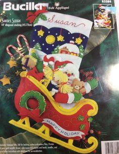 "Bucilla Santa's Sleigh Christmas Stocking Jeweled Felt Kit 83384 Retired 18"" #Bucilla"