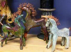Raku horses by Lynn Pedersen