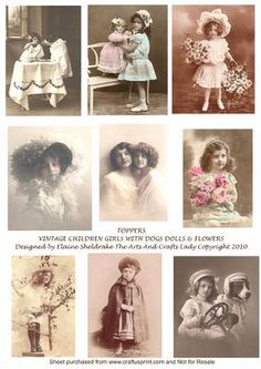 Perfect for making Victorian style cards and ATC's  with, nine lovely photographs. You are welcome to make cards to sell using this design sheet.