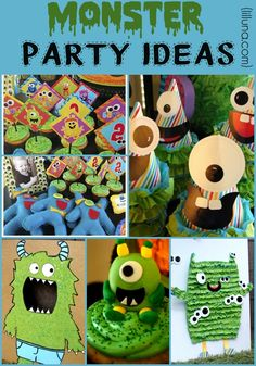 Monster Party + Monster Tutorial including lots of ideas and tutorials to have the perfect monster party! Little Monster Party, Monster Birthday Parties, First Birthday Parties, First Birthdays, Birthday Ideas, Diy Halloween Treats, Diy Halloween Decorations, Halloween Party, Halloween Halloween