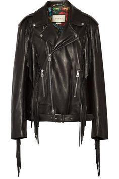 Gucci - Fringed Leather Biker Jacket - Black - IT38