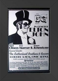 HIGH QUALITY WOOD FRAMED John, Elton Live 1973 11x17 Concert Poster