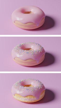 Donut render with Blender Guru tutorial Blender 3d, Blender Models, 3d Design, Logo Design, Graphic Design, Blender Tutorial, Artisanal, Cyberpunk, Doughnut