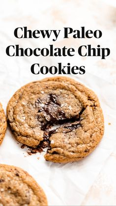 Paleo Chocolate Chip Cookies, Healthy Vegan Cookies, Paleo Cookies, Healthy Cookie Recipes, Fun Baking Recipes, Dairy Free Recipes, Paleo Breakfast Cookies, Healthy Chocolate Desserts, Healthy Oatmeal Cookies