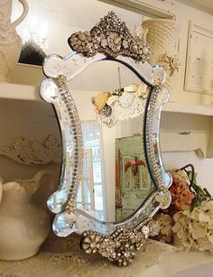 10 Magnificent Cool Tips: Shabby Chic Decoracion Interior Design shabby chic diy tea cups.Shabby Chic Cottage Porches shabby chic home products. Decor, Shabby, Shabby Chic Bathroom, Chic Decor, Home Decor, Chic Bathrooms, Beautiful Mirrors, Vintage Mirrors, Venetian Mirrors