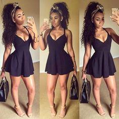 Cheap Sexy V Neck Spaghetti Strap Sleeveless Backless Flouncing Design Black Polyester Mini Dress #PinoftheDay @iamalovelywoman