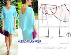 MOLDE VESTIDO CAPA -218 - Moldes Moda por Medida