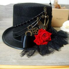 Black Victorian Steampunk Top Hat Special Use: Costumes Pattern Type: Solid…
