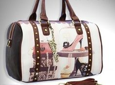 NICOLE LEE PRINTED BOSTON PURSE GITANA VINTAGE PRINT SWEET ANTIQUE FASHION STUDDED WOMEN HANDBAG