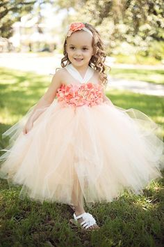Beautiful peach ivory coral Hydrangea tutu dress - flower girl dress - birthday dress - choose your dress color - size 6-12
