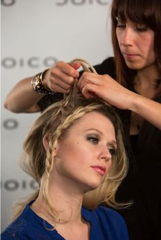 "Learn how to create this pretty braided ""headband"" look for the holidays!"