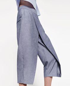CHAMBRAY TROUSERS.-NEW IN-WOMAN   ZARA United States Chambray, Hijab Fashion, Fashion Dresses, Tribal Pants, Zara, Linen Skirt, Haute Couture Fashion, Simple Dresses, Trousers Women