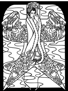 The other free coloring page from the Dover Publishers book, Chinese Kites Stained Glass Coloring book. These are so beautiful. This would work up beautifully in embroidery.
