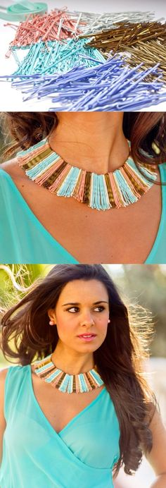 DIY Hairpin necklace - love the different colours of the pins too ...