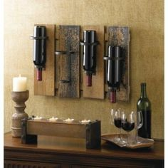Rustic Wooden Wine Rack Wall Mount Decor Country Style Wedding Gift http://stores.ebay.com/Aarons-Home-Deals
