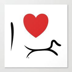 I Love Dachshund Canvas Print. #dachshundart #minimalistdachshund #dachshundwalldecor #walldecor #simple #minimalist #dogart #decoration #interior #blackandwhite #doxieart #doxie #art #sausagedog #tectel #longdog #ilovedachshund #ilove #dachshundlove #doxielover #doxie gift #dachshund gift #wienerdog gift idea #wienerdog gift #dachshund lover idea #tectel gift #dachshund art gift #dachshund addict Dachshund Art, Minimalist Decor, Canvas Prints, My Love, Gift, Photo Canvas Prints, Gifts