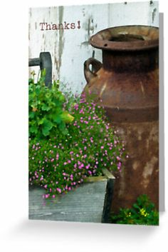 Vintage Milk Can Planter - Thanks Card by Sandra Foster.