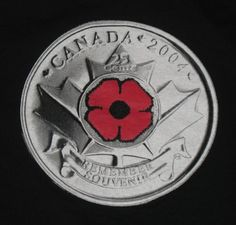 The Royal Canadian Mint's Cent Remember souvenir coin, shown here on a men's t-shirt in size extra large. Rare Pennies, Big Coins, Canadian Things, Coins Worth Money, Coin Worth, Canada Eh, Canadian History, Show Me The Money, Remembrance Day