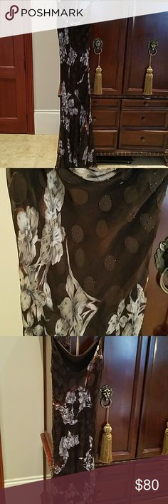 Sue Wong beaded elegant evening gown Sue Wong hand beaded brown dress w/velvet silver flowers. Bought at Nordstroms & worn to a gala event. Lightly snagged in areas but not very noticeable. Sue Wong Dresses Maxi