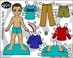 One of several paper dolls for boys available, Victor is a young man with a casual mix and match wardrobe. He can share clothing with other paper dolls. Paper Doll Template, Paper Dolls Printable, Paper Dolls Clothing, Doll Clothes, Rachel Cohen, Mermaid Top, One Of The Guys, Dress Up Dolls, Boy Doll