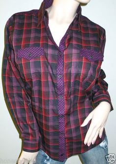 Wrangler Western Purple Red Plaid Long Sleeve Button Down Front Shirt XL New $22