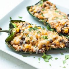 Black beans are perfect as a stuffing! These stuffed poblano peppers are so easy to make: the zesty filling features rice, corn, black beans, and of course: gooey cheese. (Or, try our Easy Stuffed Peppers. Dash Diet Recipes, Milk Recipes, Bean Recipes, Mexican Food Recipes, Vegetarian Recipes, Cooking Recipes, Healthy Recipes, Healthy Meals, Mexican Meals