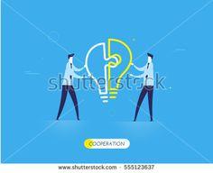 Businessmen connect lamp puzzle.