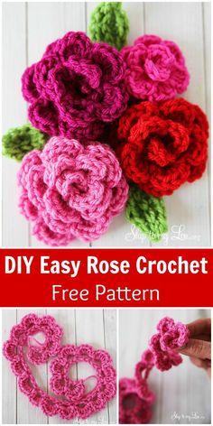 Easy Rose Crochet Pattern -  Crochet Flowers - 90+ FREE Crochet Flower Patterns - DIY & Crafts