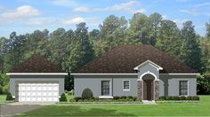 Home Plan HOMEPW77755 - 1195 Square Foot, 2 Bedroom 2 Bathroom Mediterranean Home with 2 Garage Bays | Homeplans.com