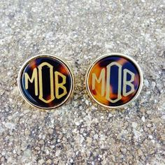 Monogram tortoise stud earrings