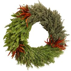 Organic Three Herb Wreath $48 Includes bay leaves, rosemary, thyme and red chili peppers. #MadeInUSA