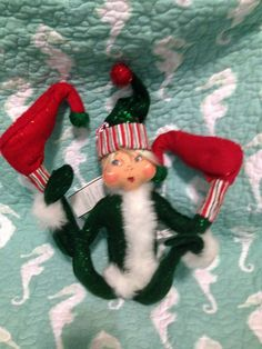 "Annalee Mobilitee Doll New 22"" Green Candy Stripe Blond Hair Sparkle Outfit 2005 $45.00"