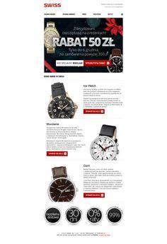 Promocja zegarków Swiss - w newsletterze nie ma konkretnych modeli i cen, jest tylko prezentacja poszczególnych kolekcji i zachęta do zapoznania się z całą ofertą.  / #ecommerce #e-commerce #newsletter #emailmarketing