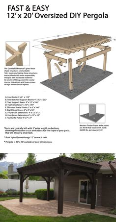 Fast and easy oversize DIY pergola! Fast and easy oversize DIY pergola! Fast and easy oversize DIY pergola! Timber Pergola, Wooden Pergola, Pergola Patio, Backyard Patio, Backyard Landscaping, Diy Patio, Easy Patio Ideas, Front Porch Pergola, Backyard Pavilion