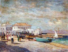 Στέλιος Μηλιάδης,1960,Παραλία στη Μύκονο.